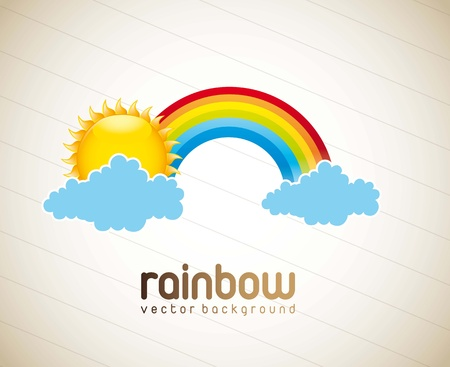 rainbow cartoon: rainbow with cloud and sun over vintage background. vector