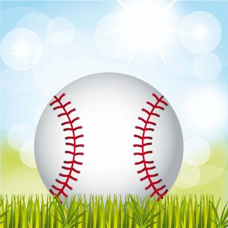 baseball ball over grass and sky background. vector illustration  Illustration