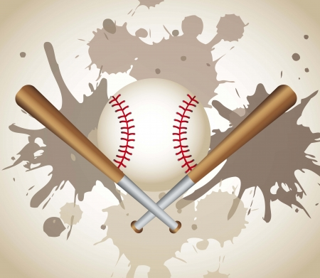 baseball game: baseball with baseball bats over grunge background. vector