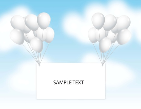 whit balloons with blank announcement over sky. vector illustration Vector
