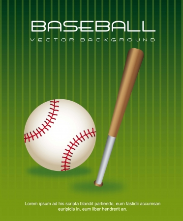 hardball: baseball ball with bat over green background. vector illustration Illustration