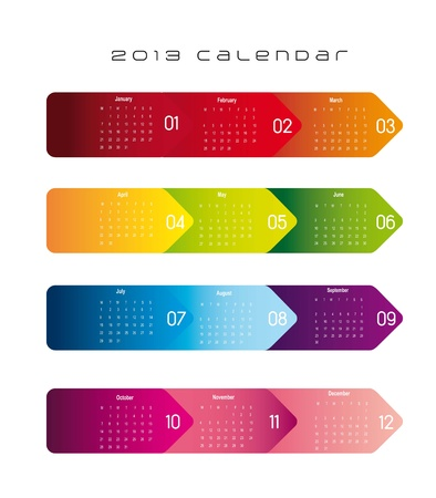 colorful 2013 calendar over white background. vector illustration Vector