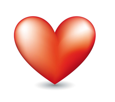 red heart with shadow over white background. vector illustration Vector