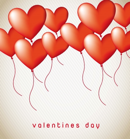 hape: heart balloons over vintage background. vector illustration