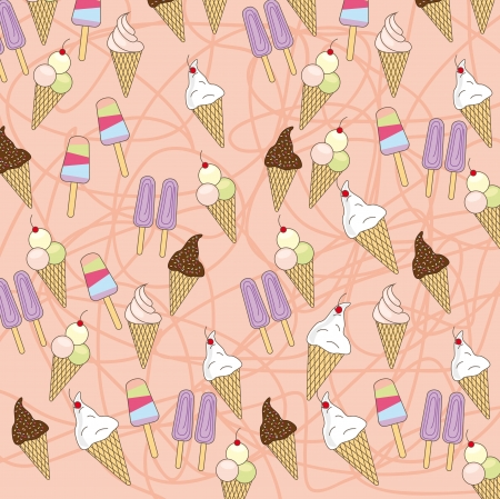 cute ice cream over pink background. vector illustration Vector