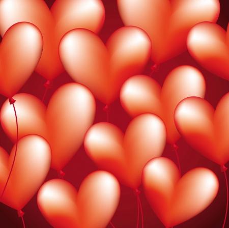 hape: heart balloons over red background. vector illustration Illustration