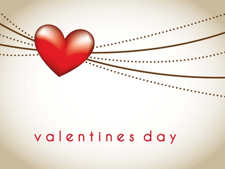 red heart with lines over brown background, valentines day. vector Vector