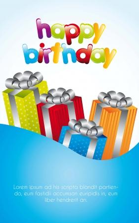 tarjeta de cumpleaños con los regalos coloridos sobre fondo azul. vector