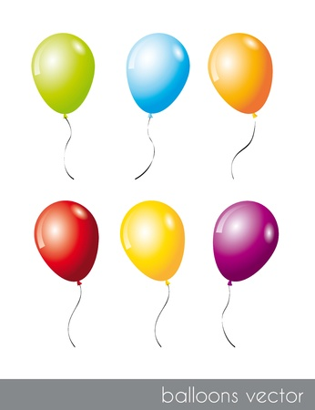 six colorful balloons isolated over white background. vector illustration Stock Vector - 14877152