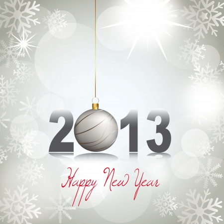 cutouts: 2013 happy new year with snowflakes background. vector Illustration
