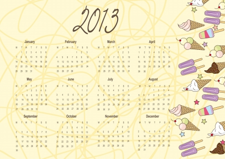 2013 calendar with cute ice cream over yellow background. vector Vector