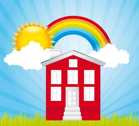 modern huis: rode huis over schattige landschap met regenboog. vector illustratie Stock Illustratie