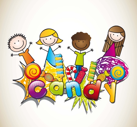 candies with children over brown background. vector illustration Stock Vector - 14877129