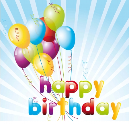 happy birthday balloons: birthday card with balloons over blue background. vector illustration Illustration