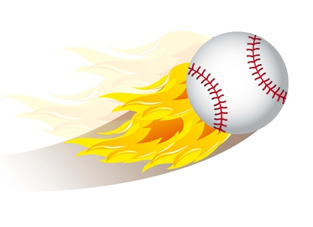 baseball ball with fire over white background. vector illustration