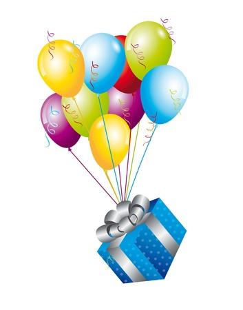 blauw geschenken met ballonnen op witte achtergrond. vector illutration Stock Illustratie
