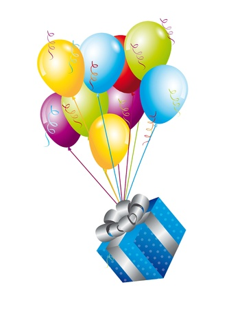 blue gifts with balloons over white background. vector illutration Ilustrace