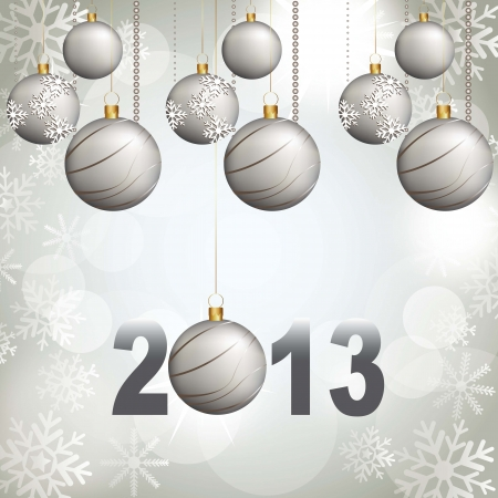 christmas balls with 2013 numbers over silver background. vector Vector