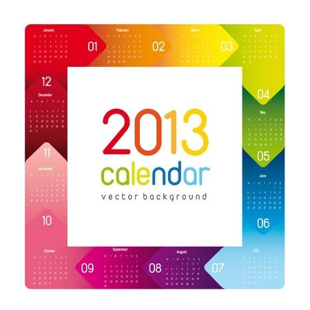 colorful 2013 calendar, square shape. vector illustration Vector