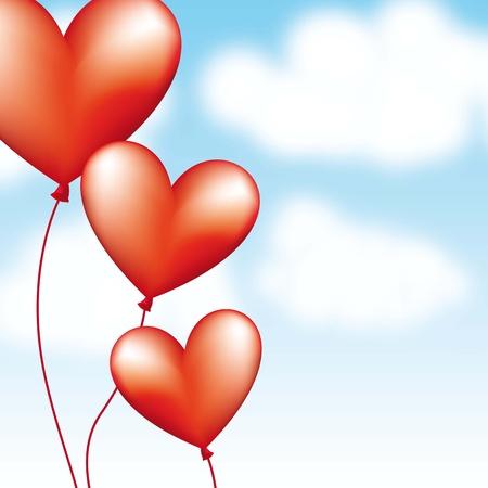 hape: palloncini cuore su sfondo cielo. illustrazione vettoriale Vettoriali