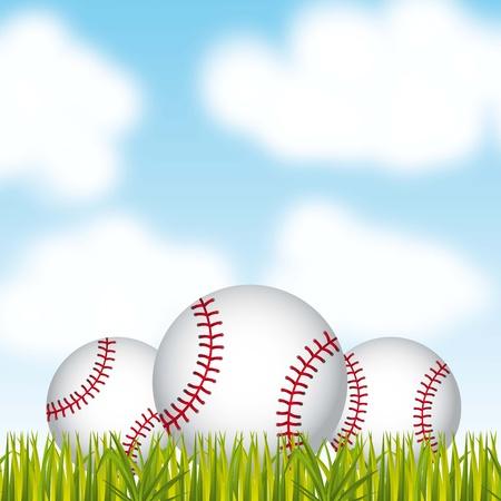 baseball balls over grass and sky background. vector illustration