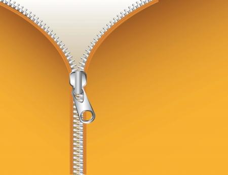 unzipped: metallic zipper over yellow background, folder. vector illustration Illustration