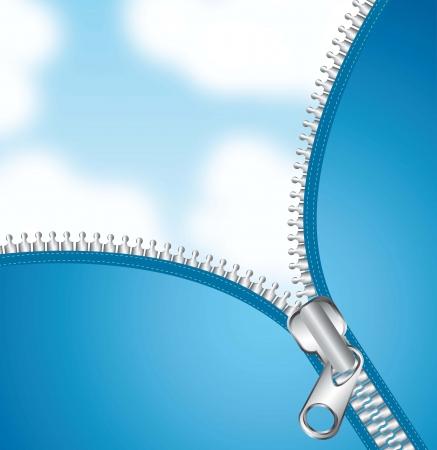 metallic zipper na tle nieba. illutration wektor Ilustracje wektorowe