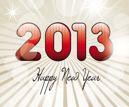 happy new year text over beige background, 2013. vector Stock Vector - 14877120