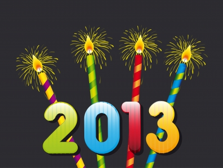 candles, happy new year 2013. vector illustration Vector