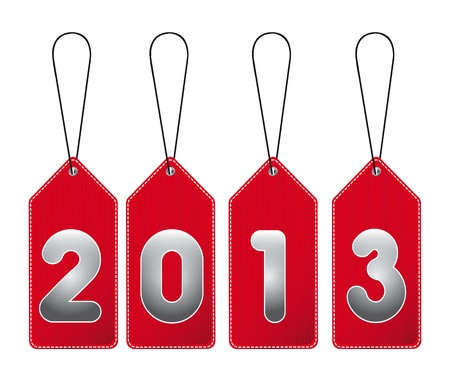 2013 red tags isolated over white background. vector illustration Vector