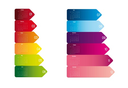 2013 colorful calendar isolated over white background. vector Vector