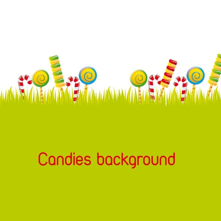 candies over silhouette grass background. vector illustration Vector