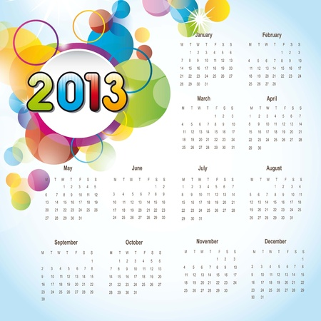 2013 calendar with colorful circles, background. vector illustration Stock Vector - 14877135