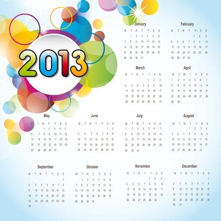 Civile 2013 avec des cercles color�s, fond. illustration vectorielle