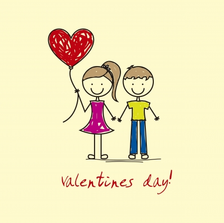 valentines day with girl and boy over yellow background.v ector Vector