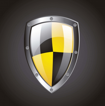Protection shield over black background. vector illustration Stock Vector - 14944590