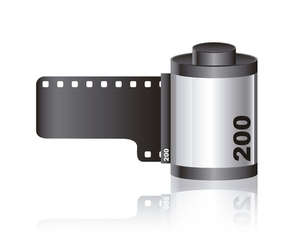Camera film roll with shadow over white background. vector Vector