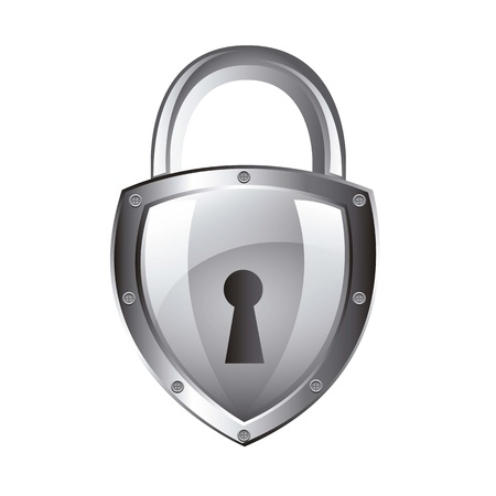 padlock: silver padlock isolated over white background. vector illustration