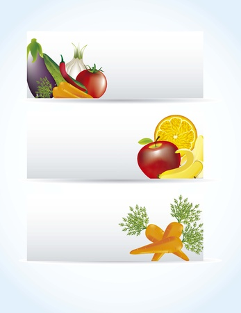 backkground: vegetables labels with shadow over blue background. vector