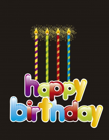 birthday card with candles over black background. vector Stock Vector - 14944538