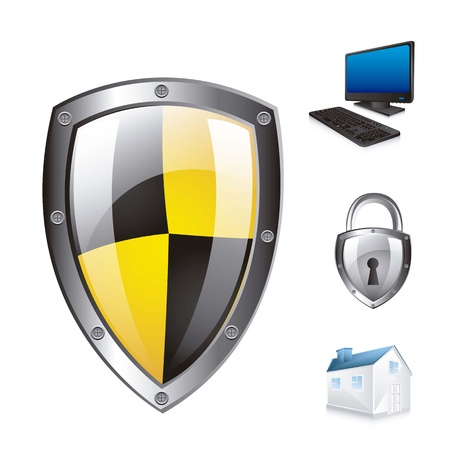 protection shield with icons over white background. vector illustration Vector