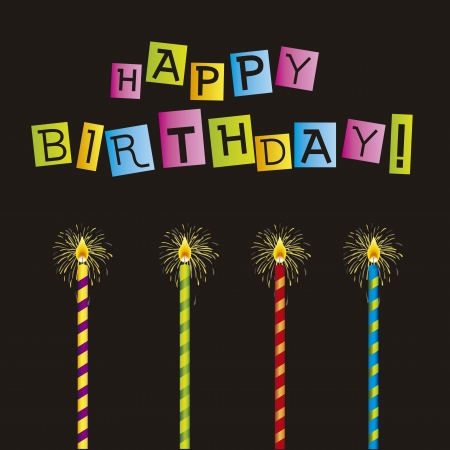 happy birthday cake: tarjeta del feliz cumplea�os con las velas sobre fondo negro. vector Vectores