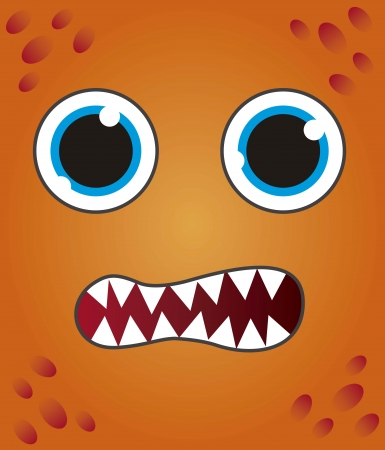 orange monster face background. vector illustration Vector