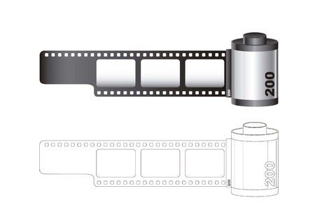 Camera film roll with lines isolated over white background. vector Vector