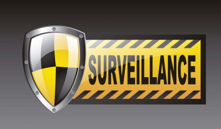 surveillance with protection shield over black background. vector Stock Vector - 14944594