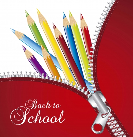 colored pencils: zipper over colored pencils, back to school. vector illlustration
