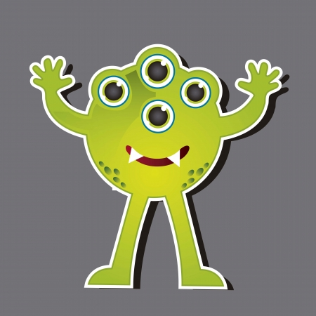 four eyes: green monster with four eyes over gray background. vector