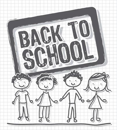 back to school with children over paper notebook. vector Stock Vector - 14944532