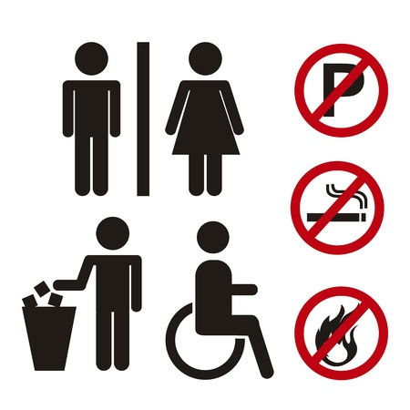man holding sign: men and women signs with prohibited signs. vector illustration