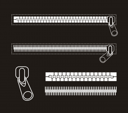 unbuttoned: white zipper isolated over black background. vector illustration